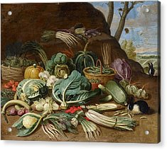 Still Life With Vegetables And A Rabbit Still Life With Fish And Cats In The Kitchen Acrylic Print by Jan van Kessel