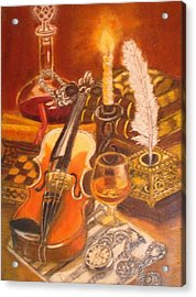 Still Life With Violin And Candle Acrylic Print