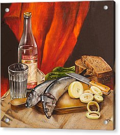 Still Life With Vodka And Herring Acrylic Print
