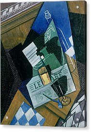 Still Life With Water Bottle, Bottle And Fruit Dish, 1915 Acrylic Print by Juan Gris