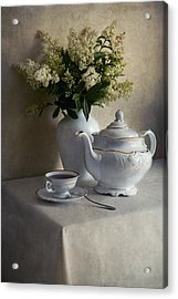 Still Life With White Tea Set And Bouquet Of White Flowers Acrylic Print