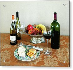 Still Life With Wine And Fruit Cheese Picture Interior Design Decor Acrylic Print by John Samsen