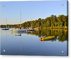 Still Waters On The Potomac River At Belle Haven Marina Virginia Acrylic Print by Brendan Reals