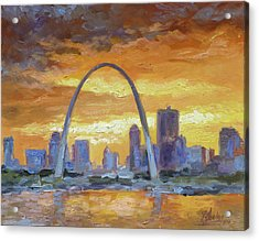 St.louis Arch - Sunset Acrylic Print