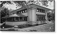 Stockman House - Frank Lloyd Wright - Black And White Acrylic Print