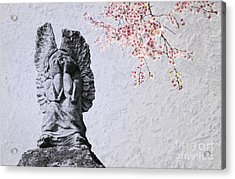 Stone Angel Under Cherry Blossoms Acrylic Print by Charline Xia