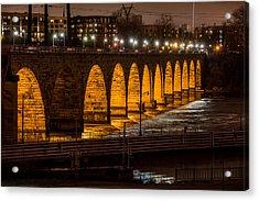 Stone Arch Bridge Night Shot Acrylic Print