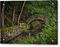Stone Arch Bridge Path And Flowing Creek Stream In Lush Forest Countryside Landscape Acrylic Print by Aaron Sheinbein