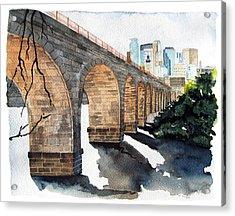Stone Arch Bridge Watercolor Acrylic Print