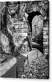 Stone Arch In The Ramble Of Central Park - Bw Acrylic Print