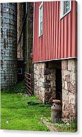 Stone Barn With Milk Can Acrylic Print