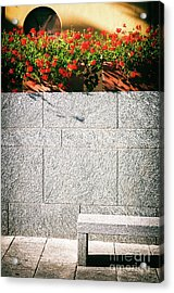 Acrylic Print featuring the photograph Stone Bench With Flowers by Silvia Ganora