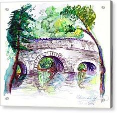 Stone Bridge In Early Autumn Acrylic Print