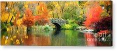 Stone Bridge On An Autumn Day Acrylic Print by Amy Cicconi