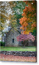Stone Church In Pomfret Ct In Autumn Acrylic Print