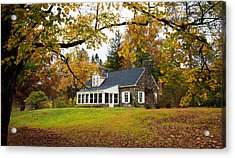 Stone Cottage In The Fall Acrylic Print by Kenneth Cole