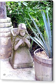 Acrylic Print featuring the photograph Stone Girl With Basket And Plants by Francesca Mackenney