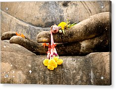 Stone Hand Of Buddha Acrylic Print by Adrian Evans