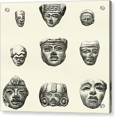 Stone Heads And Masks Found At Teotihuacan, Mexico Acrylic Print by Spanish School