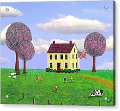 Stone House In Spring Acrylic Print by Paul Little