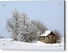Stone House In Winter Acrylic Print