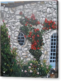 Acrylic Print featuring the painting Stone House Menton  France by Betty-Anne McDonald