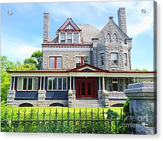 Acrylic Print featuring the photograph Stone Mansion Red Doors by Becky Lupe
