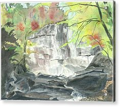 Stone Mountain Falls - The Upper Cascade - IIi - Autumn Acrylic Print