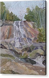 Acrylic Print featuring the painting Stone Mountain Falls April 2013 by Joel Deutsch