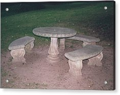 Stone Picnic Table And Benches Acrylic Print