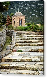 Stone Stair Walkway At Moni Osios Loukas In Distomo, Greece Acrylic Print by Global Light Photography - Nicole Leffer