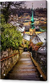 Stone Steps Of Kapuzinerberg Salzburg In Winter Acrylic Print by Carol Japp