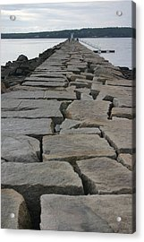 Stone Walk To Light House Acrylic Print by Dennis Curry