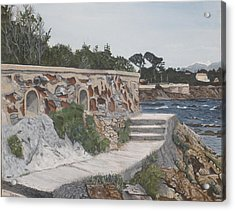 Acrylic Print featuring the painting Stone Wall France by Betty-Anne McDonald