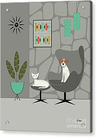Stone Wall With Dog And Cat Acrylic Print