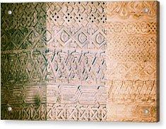 Stone Walls With Geometric Carved Models Acrylic Print by Vlad Baciu