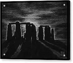 Stonehenge In Black And White Acrylic Print