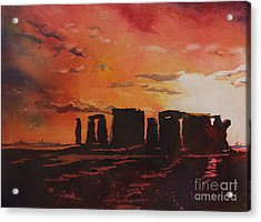 Stonehenge Sunset Acrylic Print by Ryan Fox
