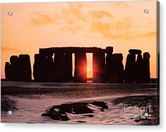 Stonehenge Winter Solstice Acrylic Print by English School