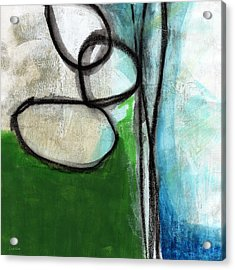 Stones- Green And Blue Abstract Acrylic Print by Linda Woods
