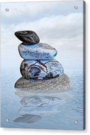 Stones In Water Acrylic Print by Gill Billington