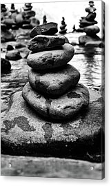 Stones Pyramid In Black And White  Acrylic Print