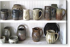 Stoneware Cups Acrylic Print by Stephen Hawks