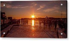 Acrylic Print featuring the photograph Stonington Harbor Sunset On Ice by Kirkodd Photography Of New England
