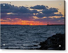Acrylic Print featuring the photograph Stonington Point Sunset by Kirkodd Photography Of New England