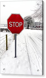 Stop Acrylic Print by Adrian Evans