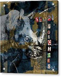 Stop Rhino Poachers Wildlife Conservation Art Acrylic Print