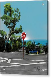 Stop Acrylic Print by Russell Pierce