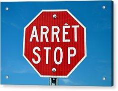 Stop Sign. Acrylic Print by Fernando Barozza