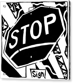 Stop Sign Maze For Letter S Acrylic Print by Yonatan Frimer Maze Artist
